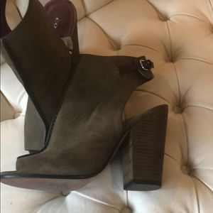 Olive green Coach peep toe ankle booties. Size 8.5